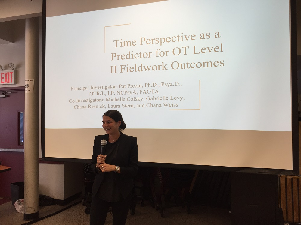 SHS OT student Gabrielle Levy spoke about her group\'s work examining how OT students\' perception of time predicted their future fieldwork outcomes.
