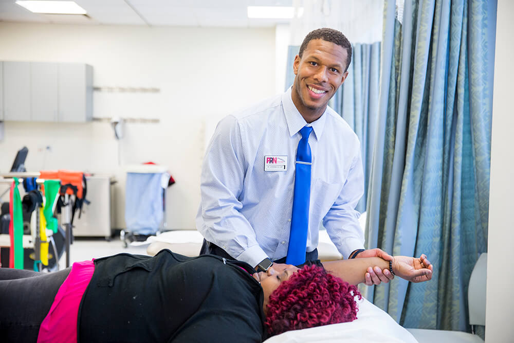 At PNR Physical Therapy, Jermaine Lee puts into practice the core skills that he learned in class, from hands-on manipulation to working with patients in a professional setting.